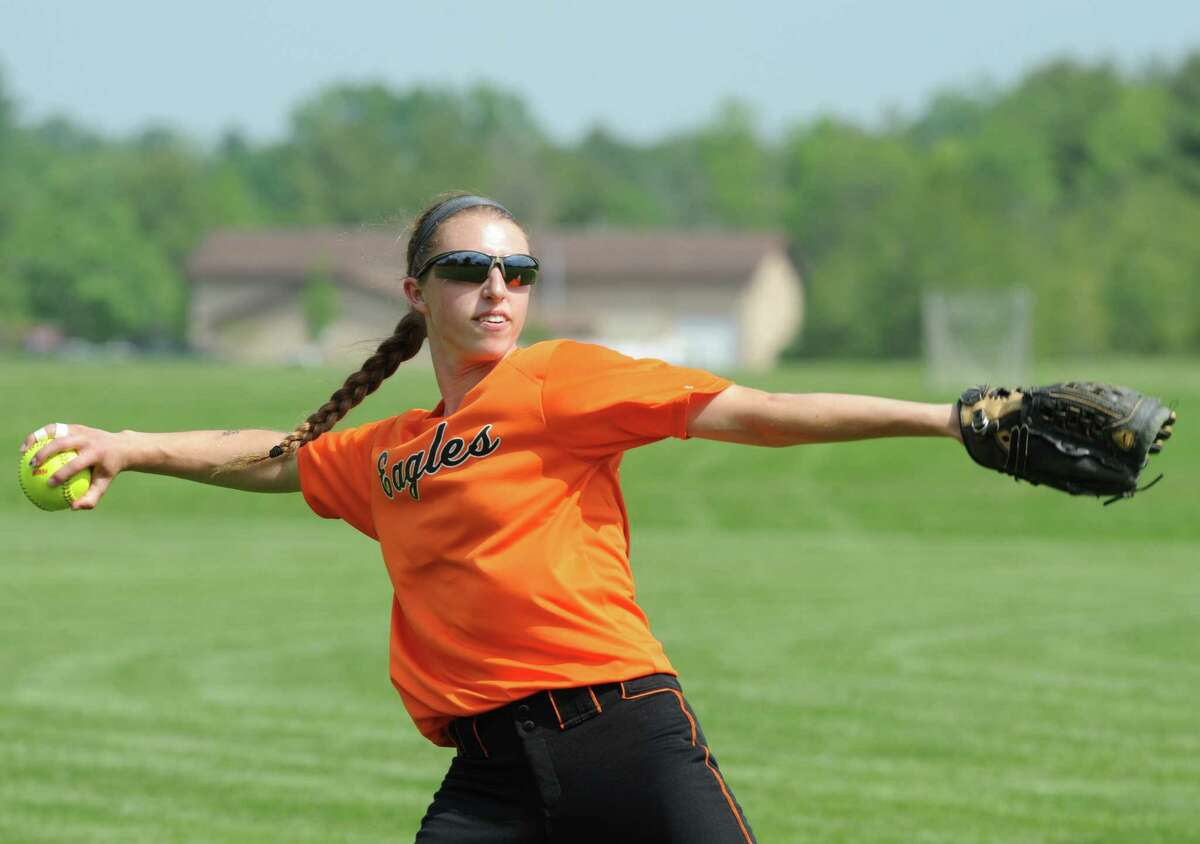 Bethlehem high School softball shortstop Carrie Maniccia warms up prior to a scrimmage with Troy on Tuesday June 3, 2014 in Delmar, N.Y. (Michael P. Farrell/Times Union)