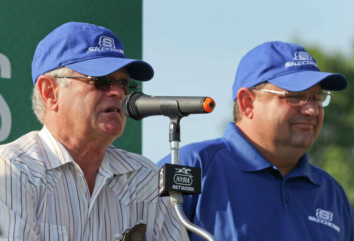 California Chrome trainer Art Sherman, left, and his son, assistant trainer Alan Sherman, answer questions from the media during a news conference at Belmont Park, Tuesday, June 3, 2014, in Elmont, N.Y. The Kentucky Derby and Preakness Stakes winner will attempt to become the first Triple Crown winner since Affirmed in 1978 when he races in the146th running of the Belmont Stakes on Saturday. (AP Photo/Peter Morgan) ORG XMIT: NYJJ125