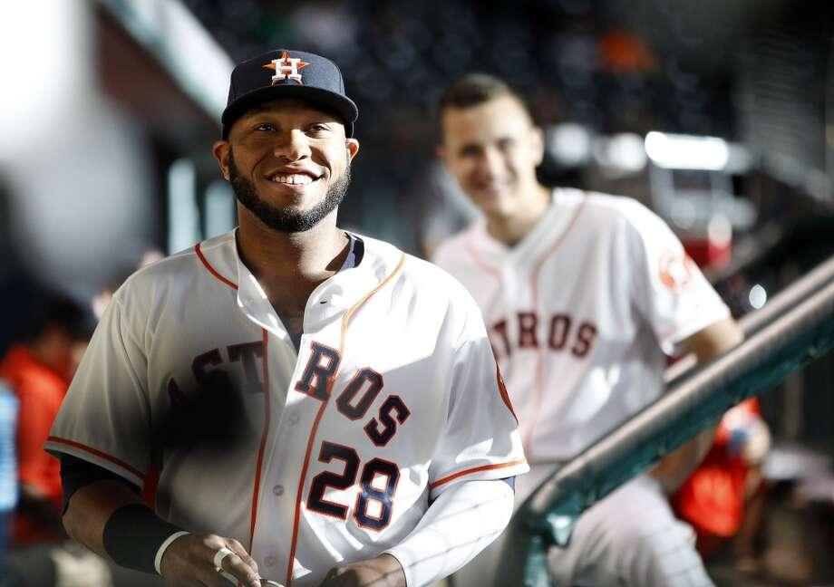 Astros first baseman Jon Singleton (28) in the dugout. Photo: Karen Warren, Houston Chronicle