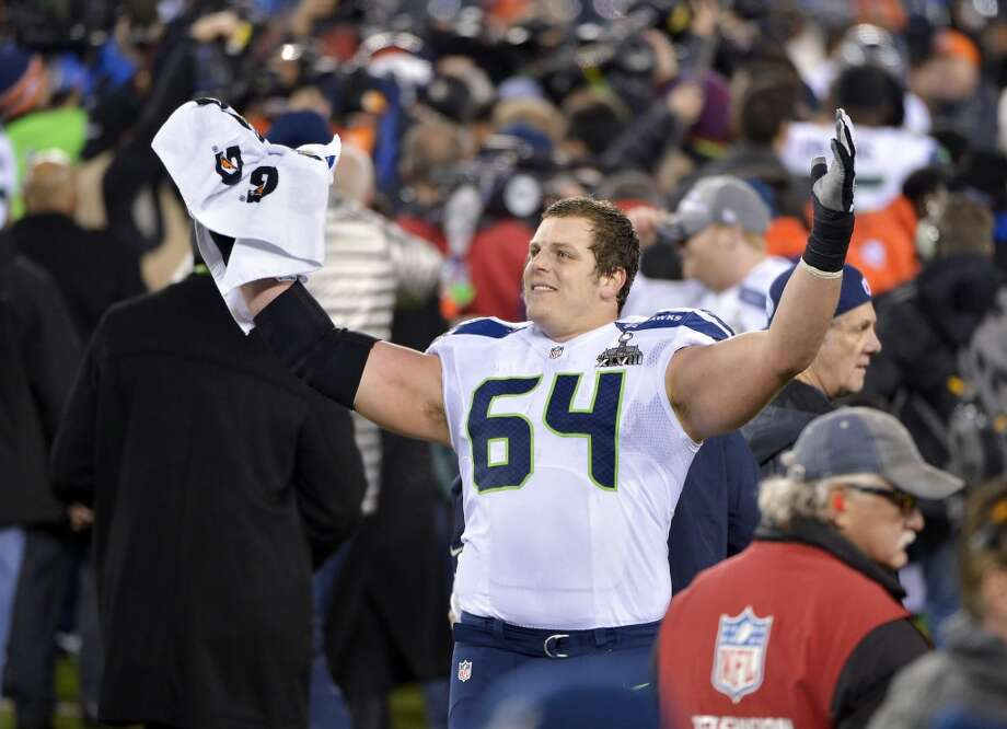 Seattle Seahawks guard J.R. Sweezy celebrates during the second half of Super Bowl XLVIII. Photo: Bill Kostroun, Associated Press