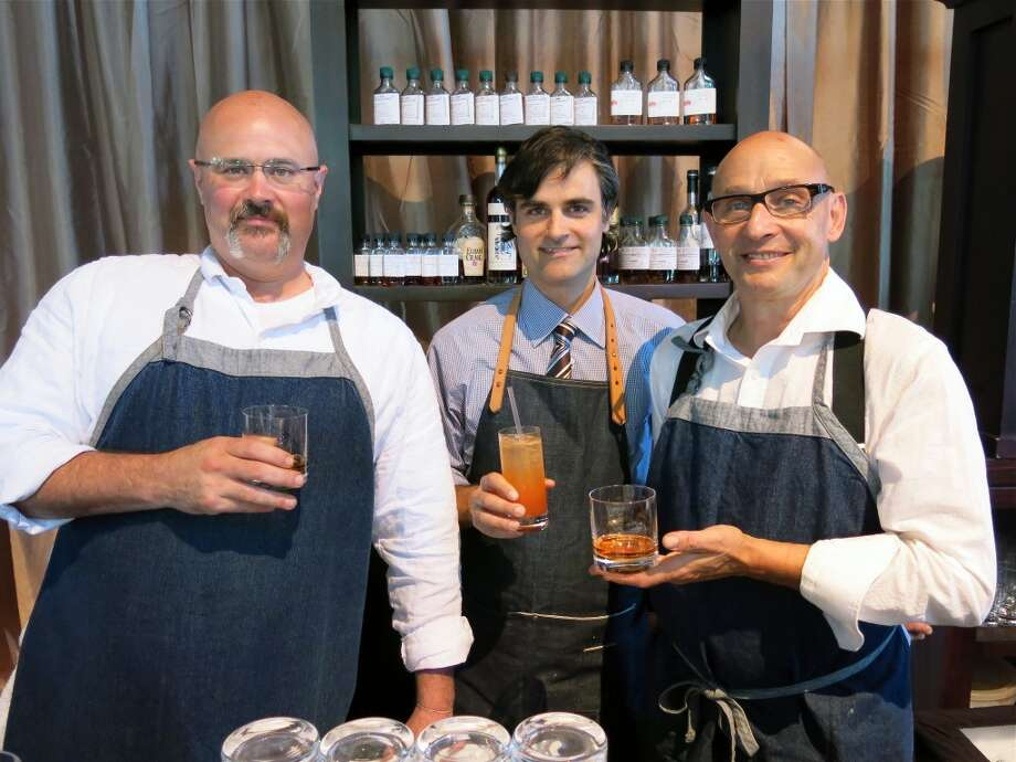 Rye on the Road co-owner Greg Lindgren (center) with Hog & Rocks mixologists Casey Murnane (left) and Michael Lazar (far right). Photo: Catherine Bigelow