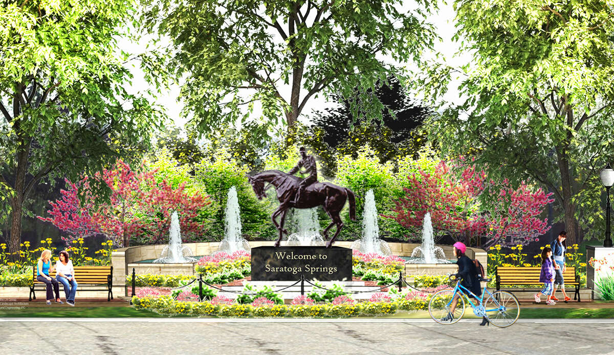 Rendering showing a new fountain and life-sized statue of Native Dancer to be installed at the end of Union Avenue at Congress Park. The new addition is being funding by a donation from Marylou Whitney and John Hendrickson. (Courtesy John Hendrickson)