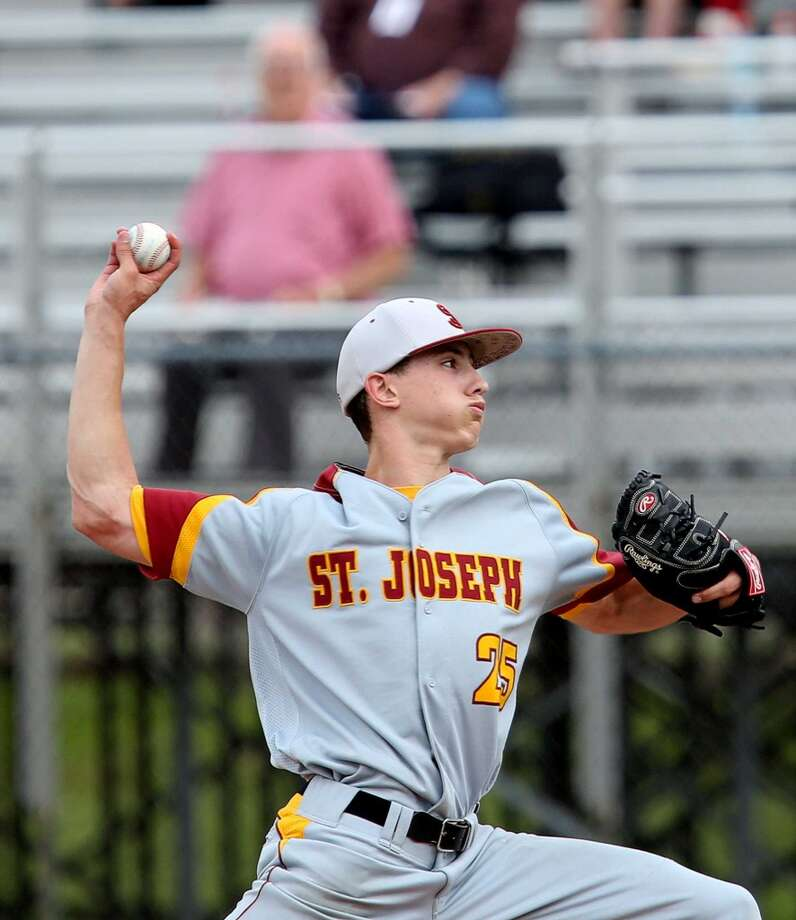Nick Williams had 10-strikeouts during a shutout for St. Joe's in the state high school baseball playoffs. Photo: Mike Ross