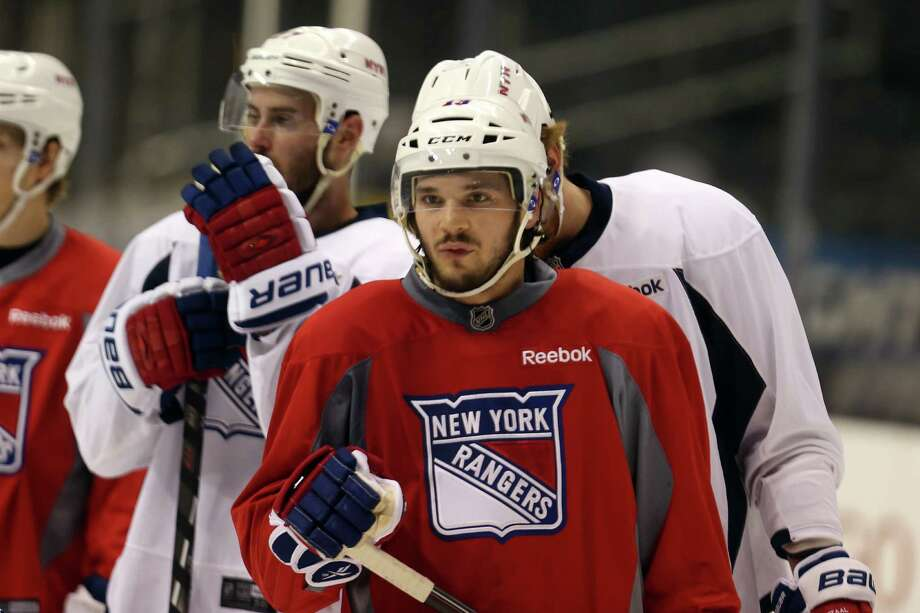 LOS ANGELES, CA - JUNE 03:  Daniel Carcillo #13 of the New York Rangers looks on during a practice session ahead of the 2014 NHL Stanley Cup Final at Staples Center on June 3, 2014 in Los Angeles, California.  (Photo by Bruce Bennett/Getty Images) ORG XMIT: 495659845 Photo: Bruce Bennett / 2014 Getty Images
