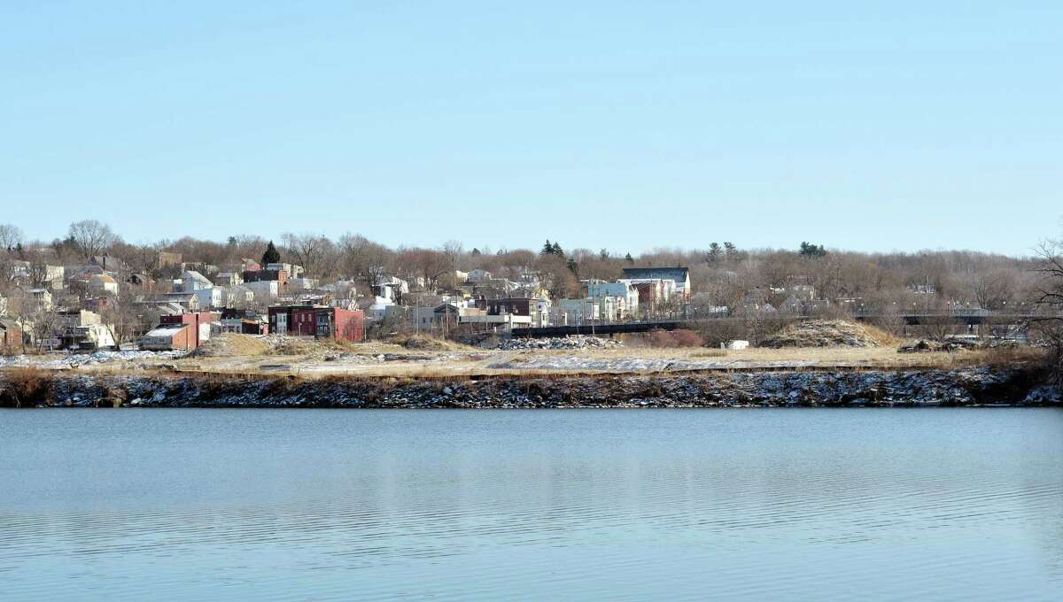 A view of de Laet's Landing development site right along the shore of the Hudson River in Rensselaer seen here on Thursday, Dec. 12, 2013 from the Albany side of the river. (Paul Buckowski / Times Union)