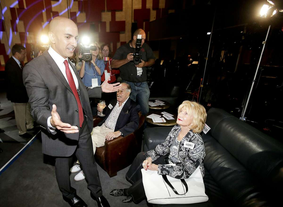 California Republican Gubernatorial Candidate Neel Kashkari greets supporters during an election night party at the Port Theater on Tuesday, June 3, 2014, in the Corona Del Mar area of Newport Beach.