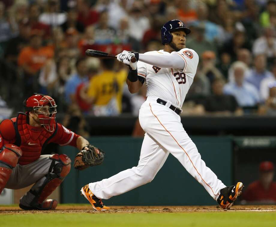 Astros first baseman Jon Singleton (28) strikes out in the second inning. Photo: Karen Warren, Houston Chronicle