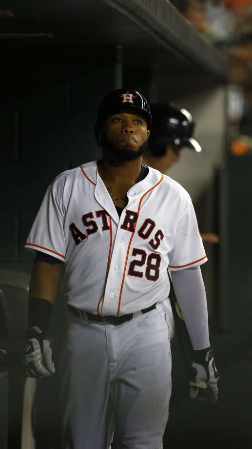 Astros first baseman Jon Singleton (28) in the dugout after striking out. Photo: Karen Warren, Houston Chronicle