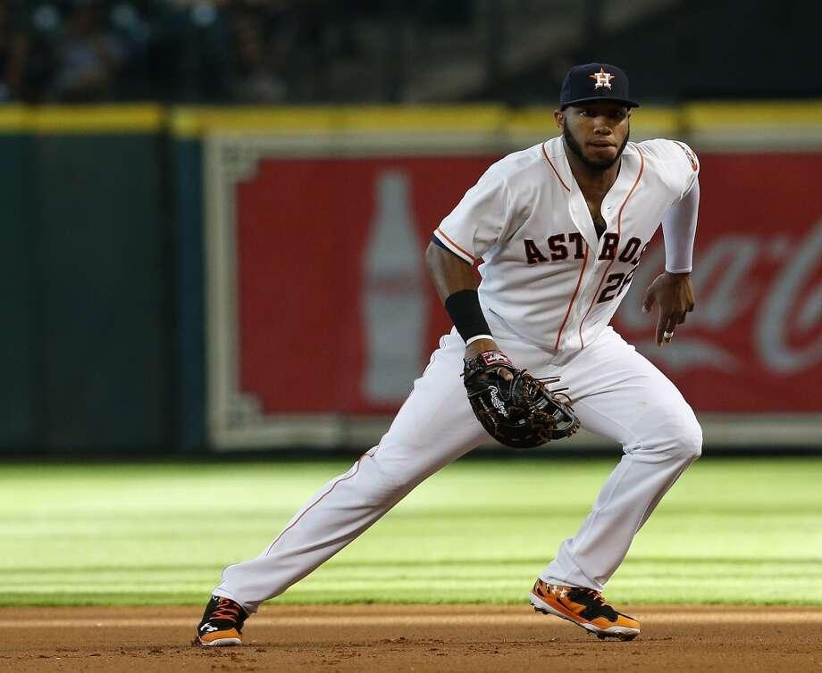 Astros first baseman Jon Singleton (28) on the field in the first inning. Photo: Karen Warren, Houston Chronicle
