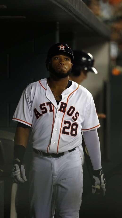 Astros first baseman Jon Singleton (28) in the dugout after striking out. Photo: Karen Warren, Houston Chronicle