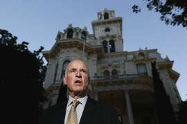 With the polls  now closed, California Governor Jerry Brown speaks to the news media in front of the Governor's Mansion near the State Capitol on Tuesday June 3, 2014, in Sacramento, Calif.