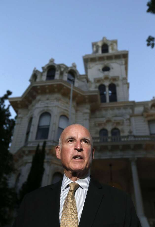 With the polls closed, California Governor Jerry Brown speaks to the news media in front of the Governor's Mansion near the State Capitol on Tuesday June 3, 2014, in Sacramento, Calif. Photo: Michael Macor, The Chronicle