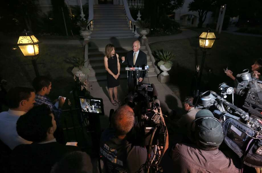 With the polls closed, California Governor Jerry Brown, joined by his wife Anne Gust-Brown as he speaks to the news media in front of the Governor's Mansion near the State Capitol on Tuesday June 3, 2014, in Sacramento, Calif. Photo: Michael Macor, The Chronicle