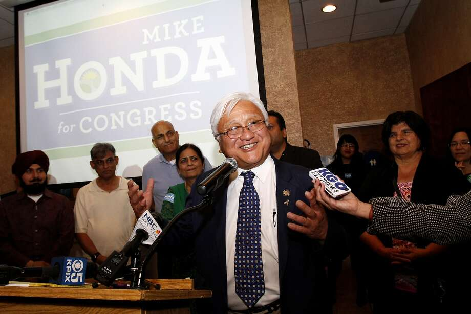 Rep. Mike Honda speaks to supporters in Fremont after building a commanding lead in his effort to hold on to his 17th Congressional District House seat. Photo: Sarah Rice, Special To The Chronicle