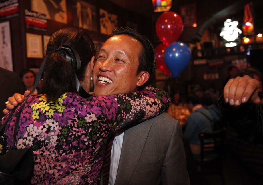 David Chiu hugs Darcy Brown with the Firefighters Union as he arrives to celebrate election results in the State Assembly primary with his volunteers, friends, family and community members June 3, 2014 at Lefty OÕDoulÕs in San Francisco, Calif. Photo: The Chronicle