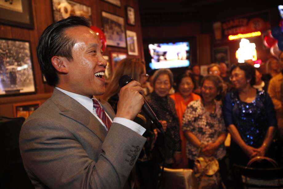 David Chiu gives a thank you speech to a crowd of doting volunteers, friends, family and community members after results indicated him winning the State Assembly primary June 3, 2014 at Lefty OÕDoulÕs in San Francisco, Calif. Photo: The Chronicle