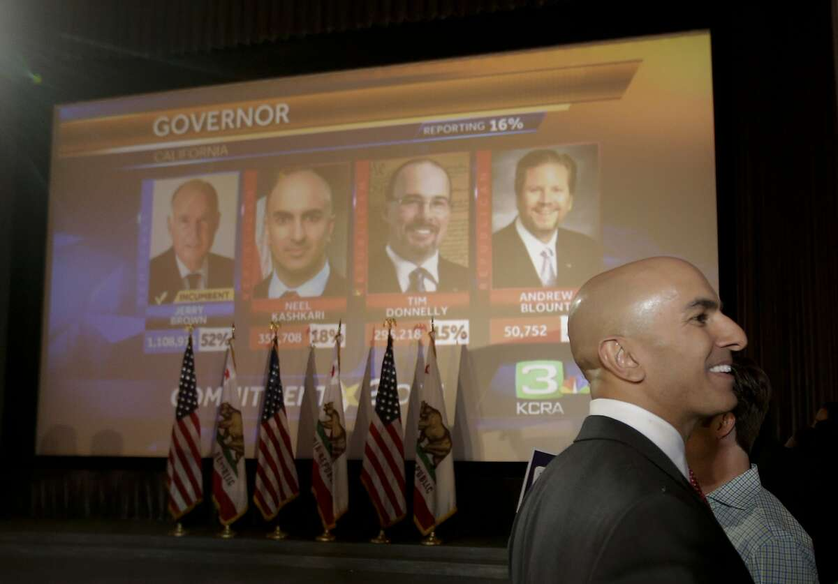 California Republican Gubernatorial Candidate Neel Kashkari addresses supporters during an election night party at the Port Theater, Tuesday, June 3, 2014, in the Corona Del Mar area of Newport Beach.