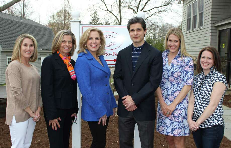 Halstead Property and John Presti, D.D.S., were the two lead sponsors for Fiesta on the Sound, Opus for Person-to-Person's spring gala. From left, Opus co-president Jen Forlizzi; Halstead Property agents Eileen Hanford and Becky Munro; Presti; and Opus co-presidents Tori Bolger and Renee Schwandt. Photo: Contributed Photo, Contributed / Darien News
