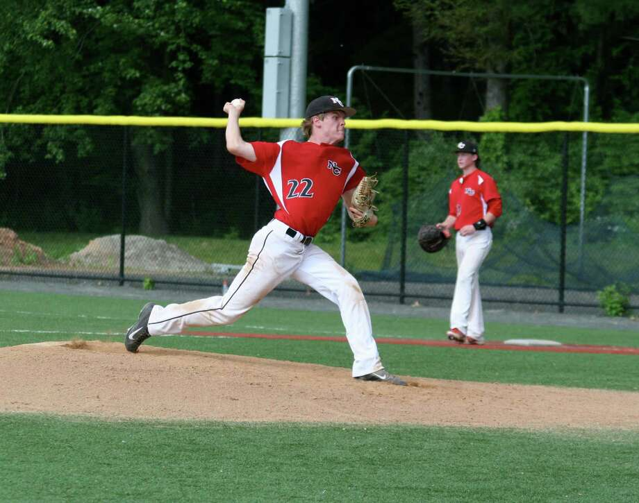 New Canaan starting pitcher JR Anderson fires a pitch in against Cheney Tech during the Rams' second-round loss to the Beavers in Manchester on Tuesday, June 3. Photo: Contributed Photo, Contributed / New Canaan News Contributed