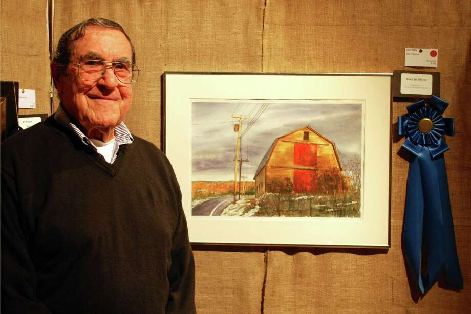 "Darien artist Stan Pastore won best in show with ""Old Yella,"" a watercolor painting, at the Darien Art Center's 56th Annual Art Show and Sale. Photo: Contributed Photo, Contributed / Darien News"