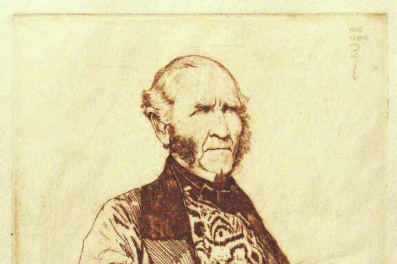 """Bernhardt Wall's """"Following Sam Houston, 1793-1863"""" is among prints on view at the Heritage Society through Aug. 2."""