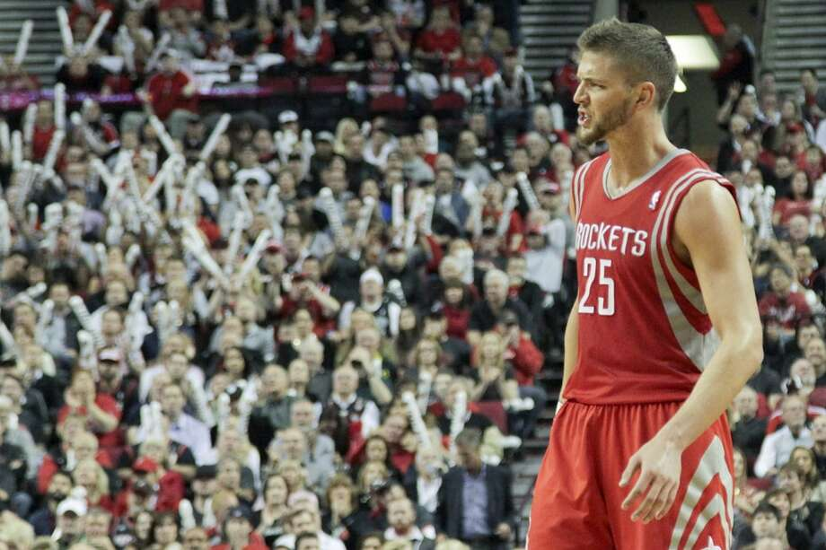 Houston Rockets forward Chandler Parsons reacts during the second half of game three of the Western Conference Quarterfinals playoffs at the Moda Center Friday, April 25, 2014, in Portland. ( James Nielsen / Houston Chronicle ) Photo: James Nielsen, Houston Chronicle