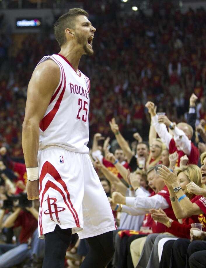 Houston Rockets forward Chandler Parsons (25) reacts after hitting a 3-pointer against the Portland Trail Blazers during the first quarter of Game 5 of the NBA Western Conference quarterfinal basketball playoff game at Toyota Center Wednesday, April 30, 2014, in Houston. ( Brett Coomer / Houston Chronicle ) Photo: Brett Coomer, Houston Chronicle