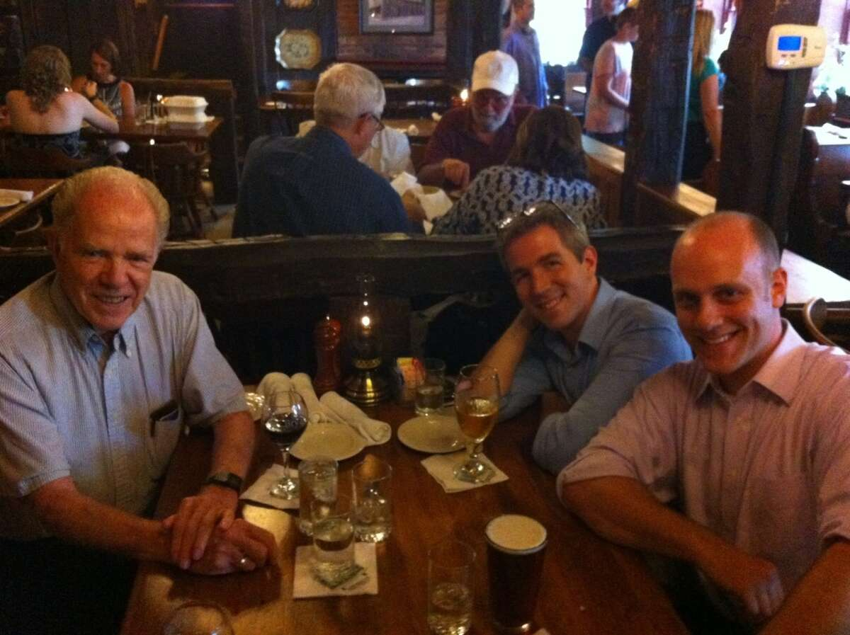 William Kennedy, left, with librettist Joshua McGuire and composer Evan Mack at the Olde Bryan Inn in Saratoga Springs .