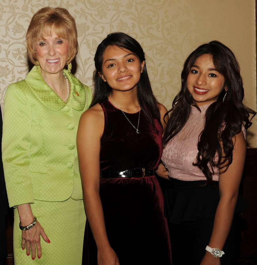 Debbie Riddle, Motherhood honoree and Texas State Representative, Heaven Gonzalez, Houston Can Academy graduating senior, Jasmine Rodriguez, Houston Can Academy junior at the Motherhood Luncheon benefiting Houston Can Academy at the Houstonian May 30, 2014.