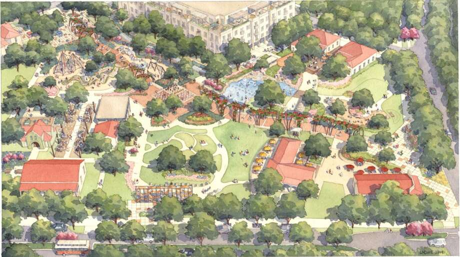 This latest rendering of the Yanaguana Gardens is a closer representation of what the area will look like, Hemisfair says. Photo: Hemisfair, Courtesy
