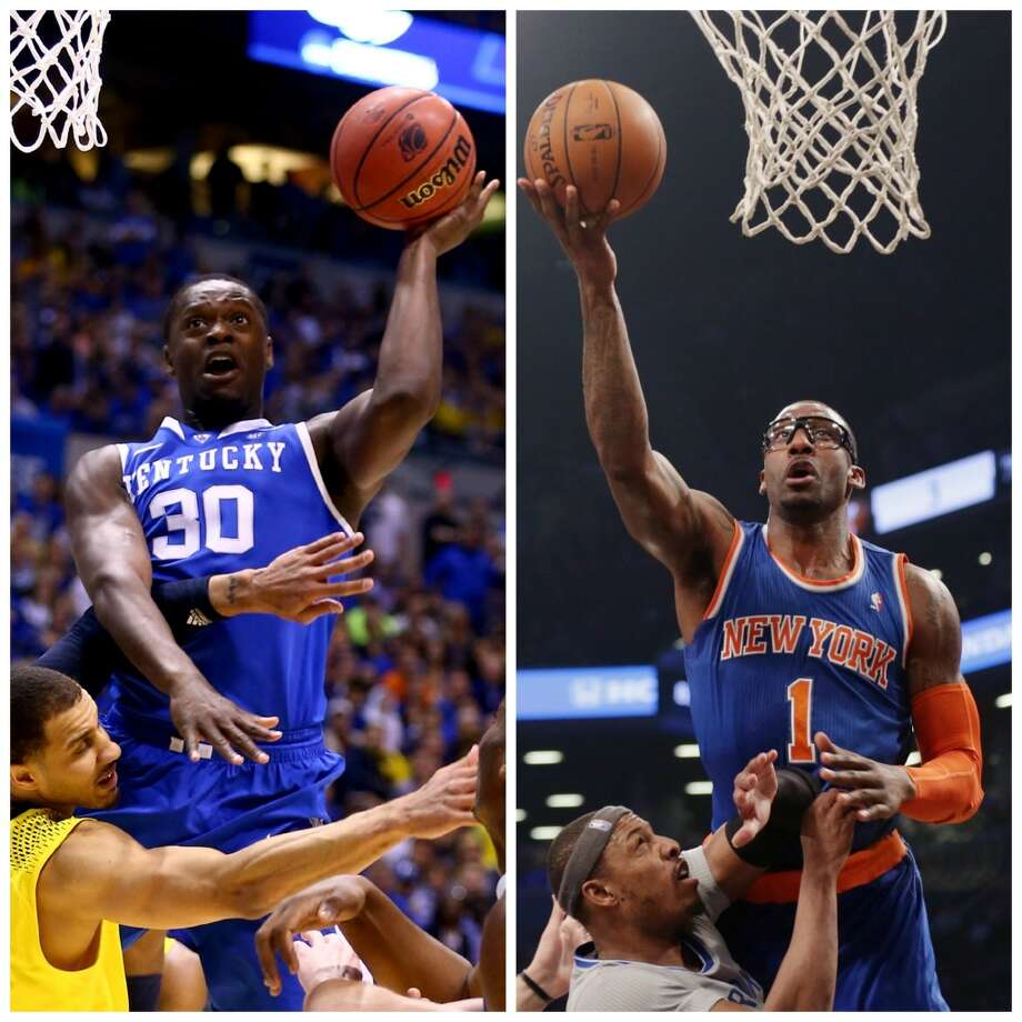 Julius Randle 6-9, 250, Kentucky power forward NBA comparison: Amar'e Stoudemire  Randle seems certain to bring a productive combination of power, athleticism and facing the basket skills similar to Stoudemire. He is not likely to be the sort of power forward operating in the low post with his back to the basket, but could be a devastating pick-and-roll finisher. Another good comparison might be a taller, longer Carl Landry. Photo: Getty Images