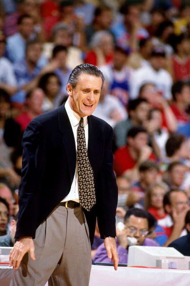 Game 2 - Friday, June 10, 1994Knicks 91, Rockets 83Series tied 1-1  Pat Riley shows his anger. Photo: Nathaniel S. Butler, NBAE/Getty Images / 1994 NBAE
