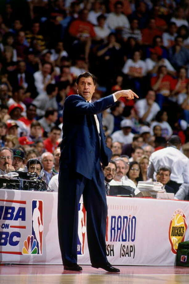 Game 2 - Friday, June 10, 1994Knicks 91, Rockets 83Series tied 1-1  Rudy Tomjanovich points out instructions. Photo: Nathaniel S. Butler, NBAE/Getty Images / 1994 NBAE