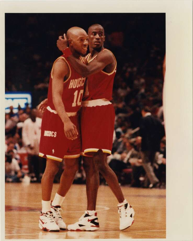 Game 3 - Sunday, June 12, 1994Rockets 93, Knicks 89Houston leads series 2-1  Sam Cassell (10) gets a hug from teammate Vernon Maxwell after sinking a key pair of free throws in the final seconds. Photo: John Makely, Houston Chronicle