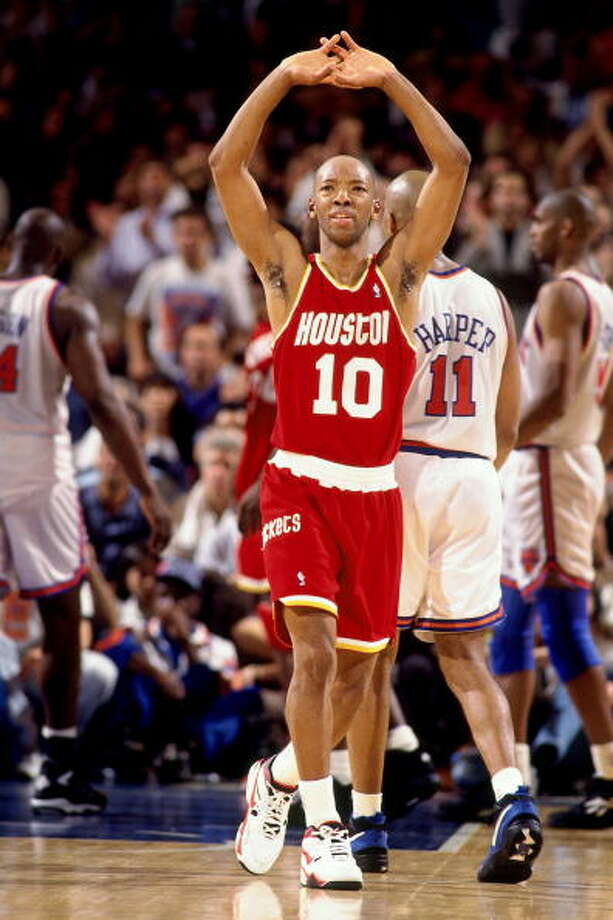 Game 4 - Wednesday, June 15, 1994Knicks 91, Rockets 82Series tied 2-2  Sam Cassell holds his arms above his head. Photo: Andrew D. Bernstein, NBAE/Getty Images / 1994 NBAE