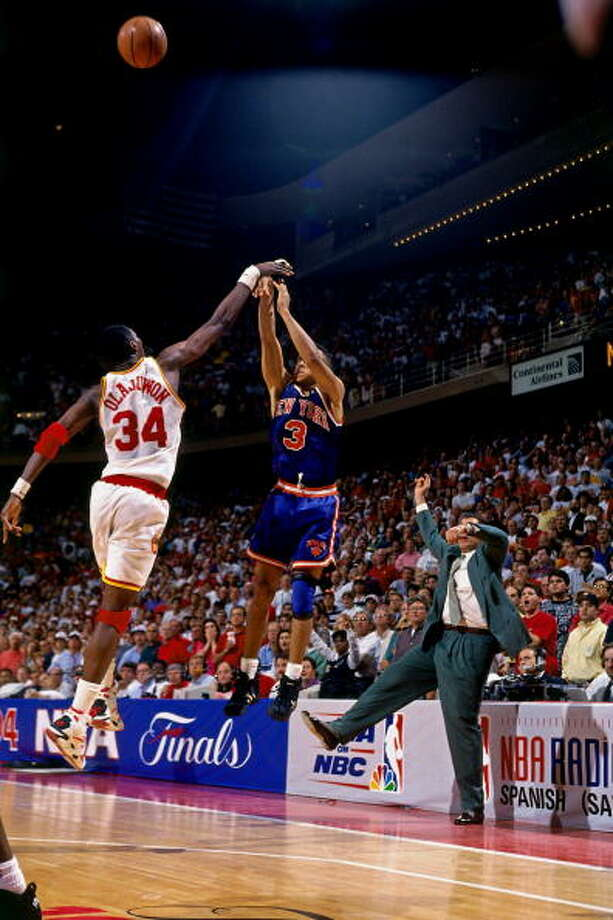 Game 6 - Sunday, June 19, 1994Rockets 86, Knicks 84Series tied 3-3  John Starks has his last-second three-point shot blocked by Hakeem Olajuwon. Photo: Lou Capozzola, NBAE/Getty Images / 1994 NBAE