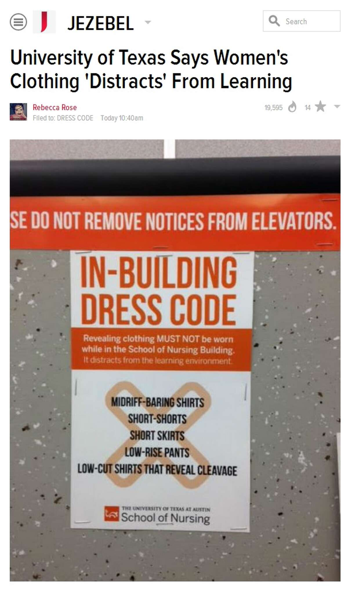 Dress code sign removed by University of Texas officials.