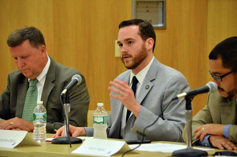Representative Chris Davis, R-57, fielded questions about the creation of the Council of Governments at the Darien Library on Tuesday night. Photo: Megan Spicer / Darien News