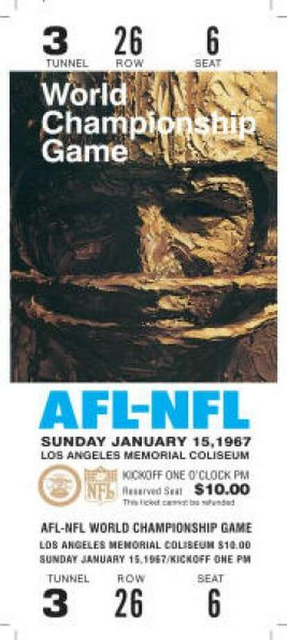 Super Bowl I Date: Jan. 15, 1967 Location: Memorial Coliseum, Los Angeles Result: Green Bay 35, Kansas City 10 Price: $12, $10, $6 Photo: Photo By NFL