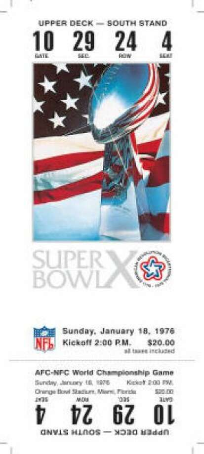 Super Bowl X Date: Jan. 18, 1976 Location: Orange Bowl, Miami Result: Pittsburgh 21, Dallas 17 Price: $20 Photo: Photo By NFL
