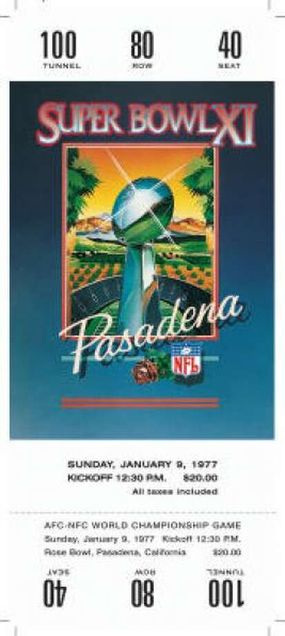 Super Bowl XI Date: Jan. 9, 1977 Location: Rose Bowl, Pasadena, Calif. Result: Oakland 32, Minnesota 14 Price: $20 Photo: Photo By NFL