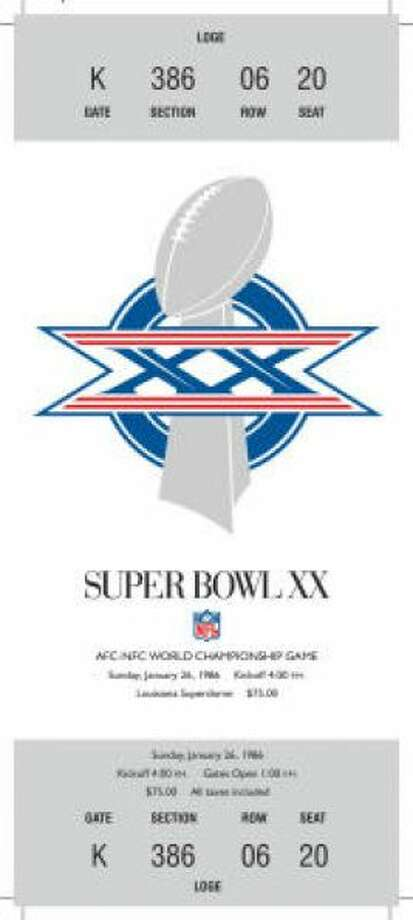 Super Bowl XX Date: Jan. 26, 1986 Location: Superdome, New Orleans Result: Chicago 46, New England 10 Price: $75 Photo: Photo By NFL