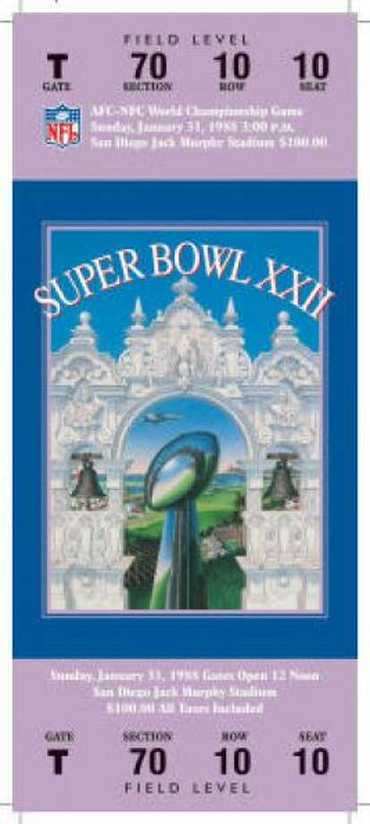 Super Bowl XXIIDate:Jan. 31, 1988 Location: Jack Murphy Stadium, San Diego Result: Washington 42, Denver 10 Price: $100 Photo: Photo By NFL
