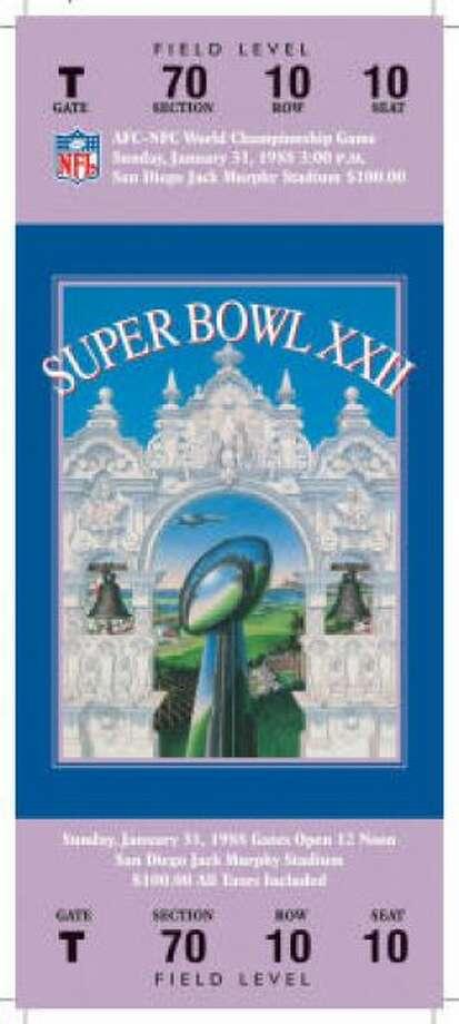 Super Bowl XXII Date: Jan. 31, 1988 Location: Jack Murphy Stadium, San Diego Result: Washington 42, Denver 10 Price: $100 Photo: Photo By NFL