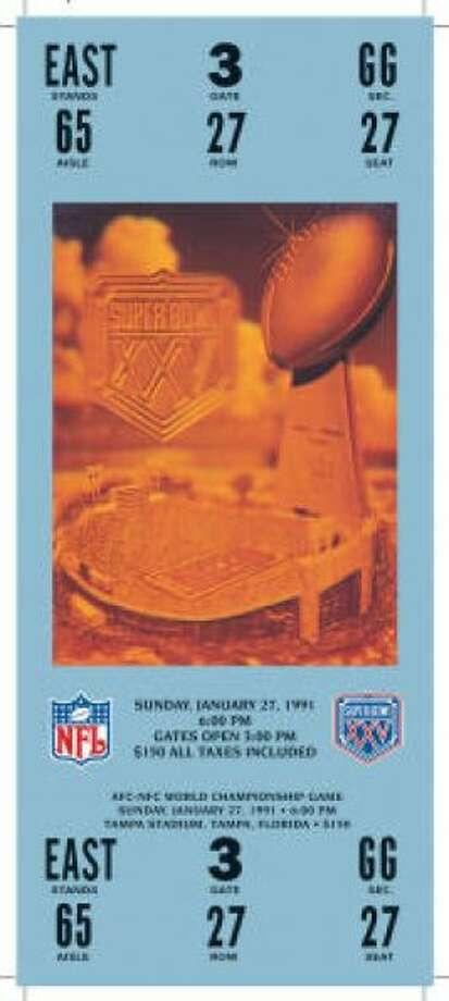 Super Bowl XXVDate:Jan. 27, 1991 Location: Tampa (Fla.) Stadium Result: New York Giants 20, Buffalo 19 Price: $150 Photo: Photo By NFL