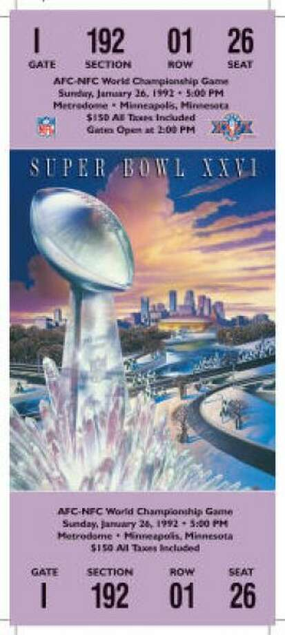 Super Bowl XXVI Date: Jan. 26, 1992 Location: Metrodome, Minneapolis Result: Washington 37, Buffalo 24 Price: $150 Photo: Photo By NFL
