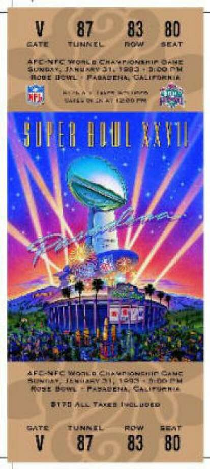 Super Bowl XXVII Date: Jan. 31, 1993 Location: Rose Bowl, Pasadena, Calif. Result: Dallas 52, Buffalo 17 Price: $175 Photo: Photo By NFL