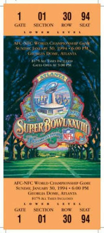 Super Bowl XXVIII Date: Jan. 30, 1994 Location: Georgia Dome, Atlanta Result: Dallas 30, Buffalo 13 Price: $175 Photo: Photo By NFL