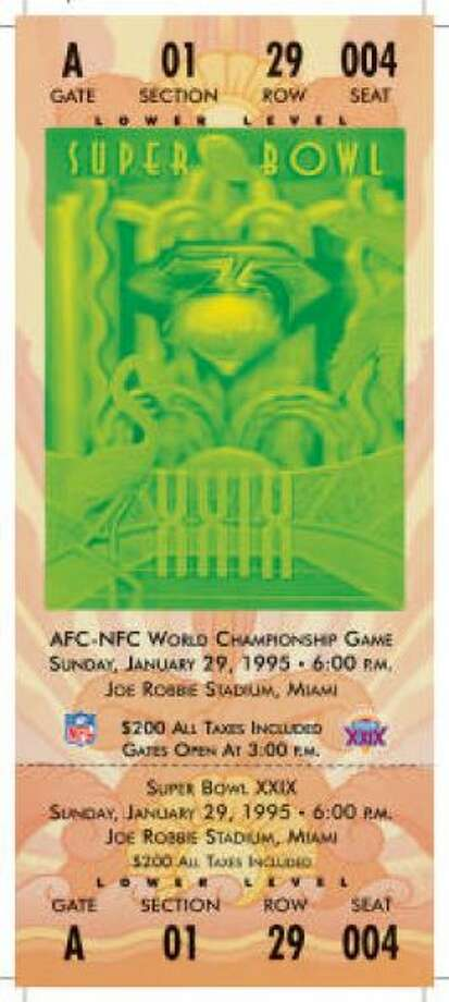 Super Bowl XXIX Date: Jan. 29, 1995 Location: Joe Robbie Stadium, Miami Result: San Francisco 49, San Diego 26 Price: $200 Photo: Photo By NFL