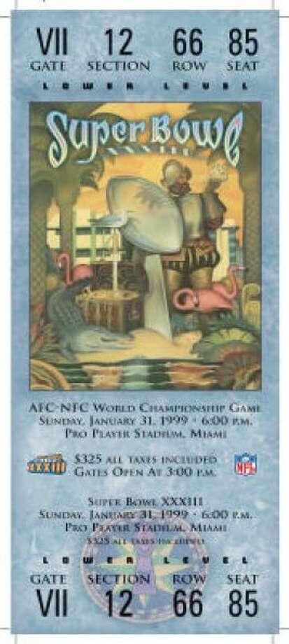 Super Bowl XXXIIIDate:Jan. 31, 1999 Location: Pro Player Stadium, Miami Result: Denver 34, Atlanta 19 Price: $325 Photo: Photo By NFL